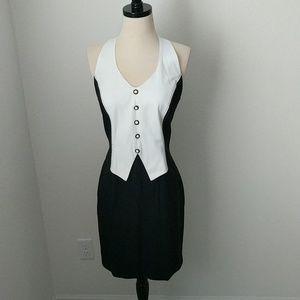 VINTAGE DANI MICHAELS • Tux Vest Dress black white